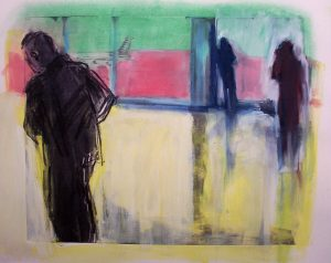 Chicago Concourse | pastel on monotype 15 x 18 2009