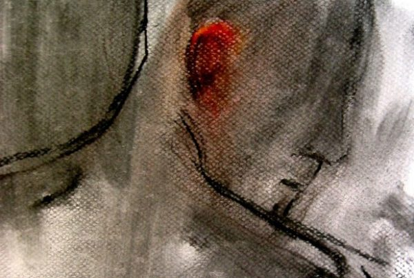 Red Ear | charcoal and pastel on paper 12 x 9 2014