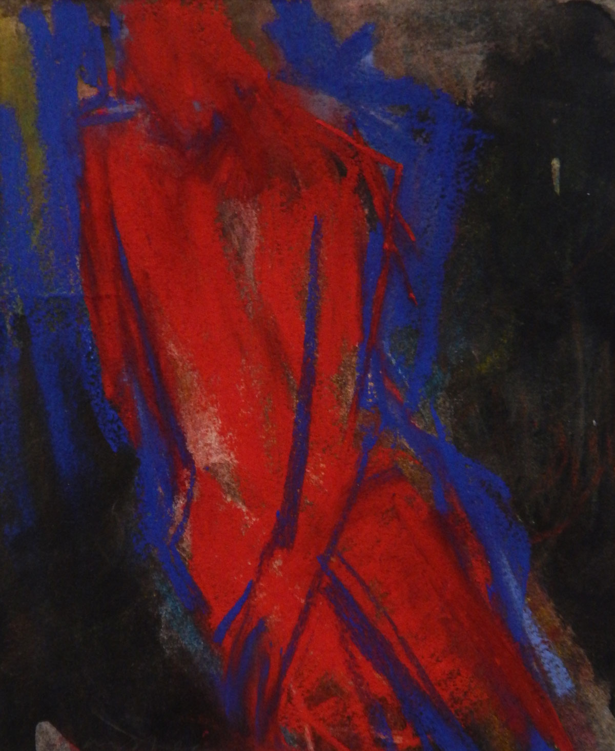 Red Figure | pastel on monotype 9.5 x 9 2016
