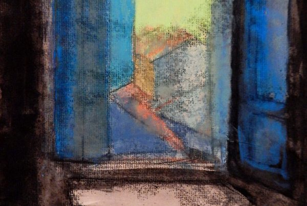 Studio window at dusk | pastel on monotype 15 x 11 2018