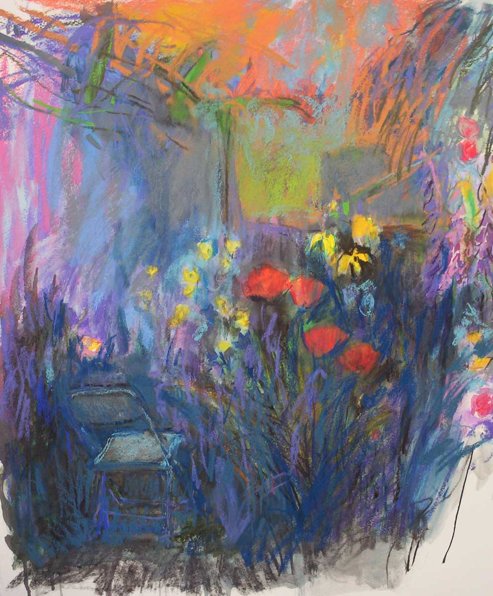 Twilight garden | pastel and gouache on paper 26 x 20 2009