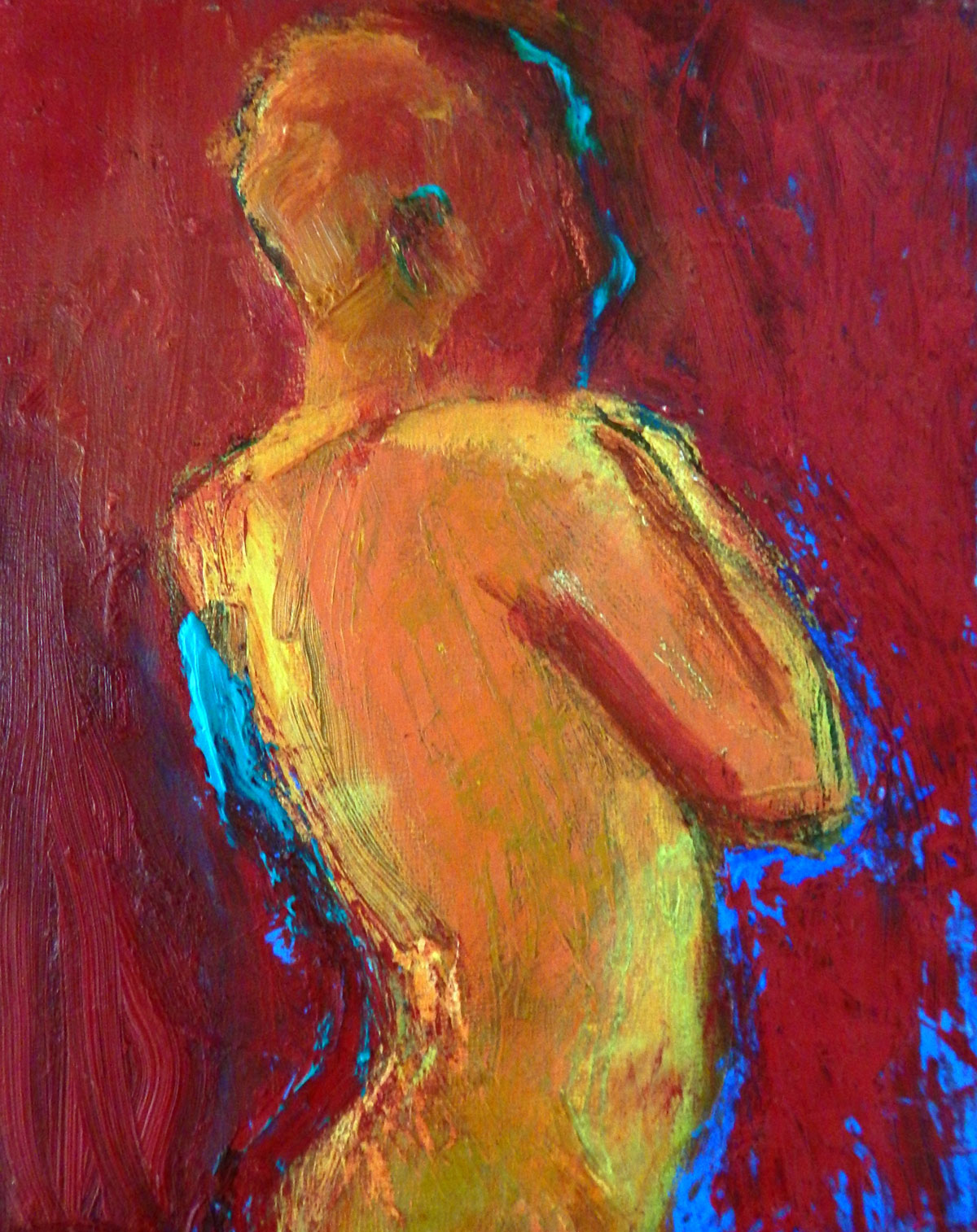 Warm and cool figure | oil on panel 10 x 8 2018