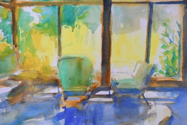 Sun porch | watercolor on paper 11 x 15 2011