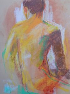 Turning figure   pastel on toned paper 12 x 9 2018